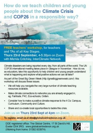 Climate Crisis Teachers workshop on 23 Sept 2021 for web
